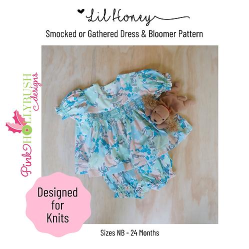 Lil' Honey Printed Infant Knit Dress & Bloomer Pattern