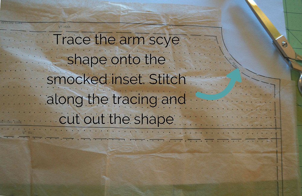 Tracing the arm scye on to the insert.