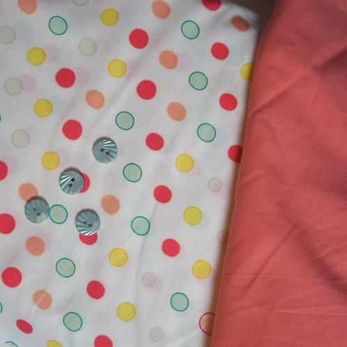 Peach Dot July Flowers Gathered Skirt Kit