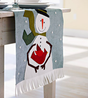 Wool Snowman Table Runner