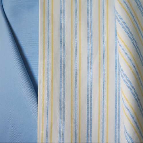 Yellow and Blue Striped Cotton Broadcloth