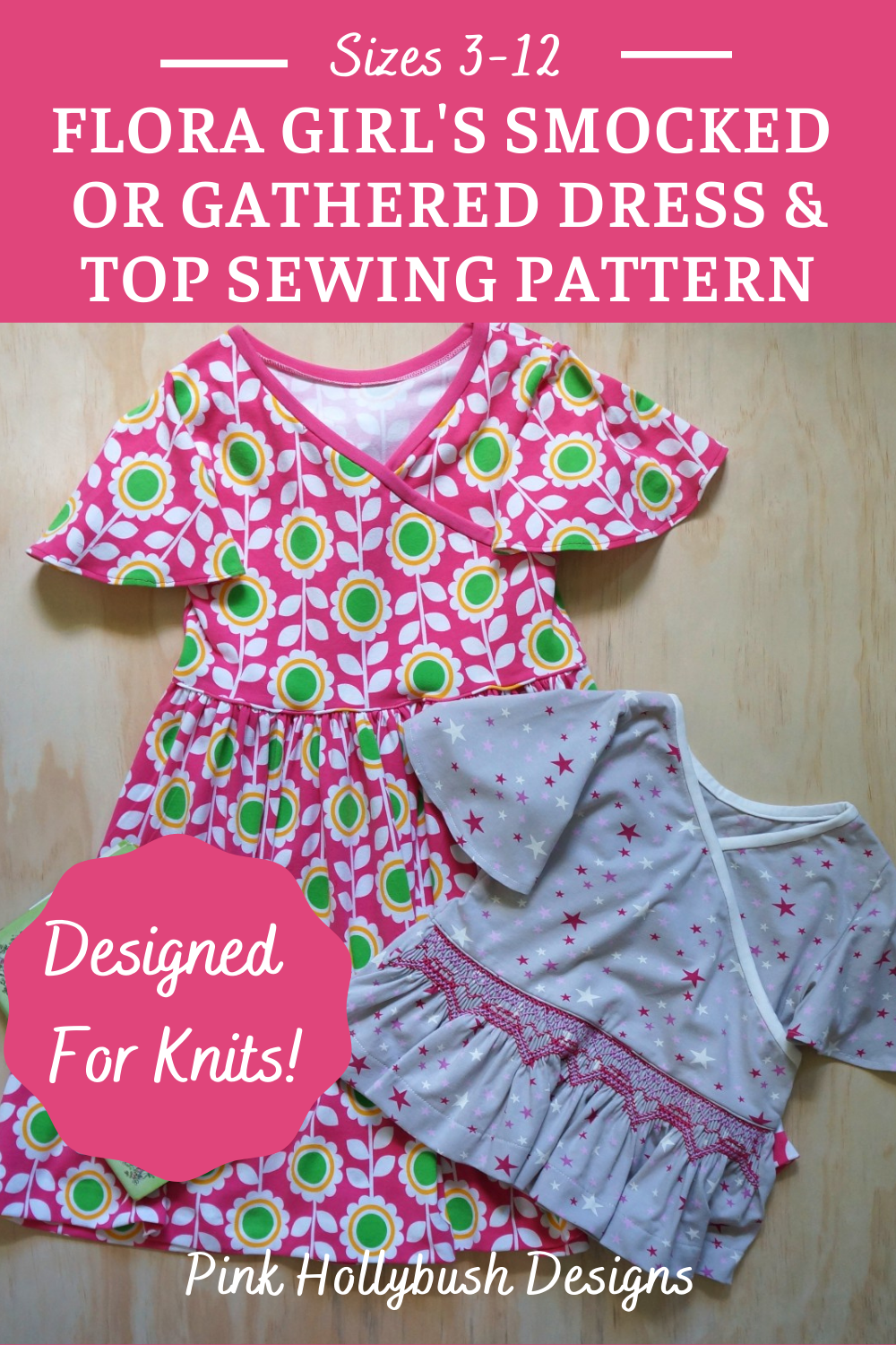 Flora Dress and Top girl's smocking and sewing pattern