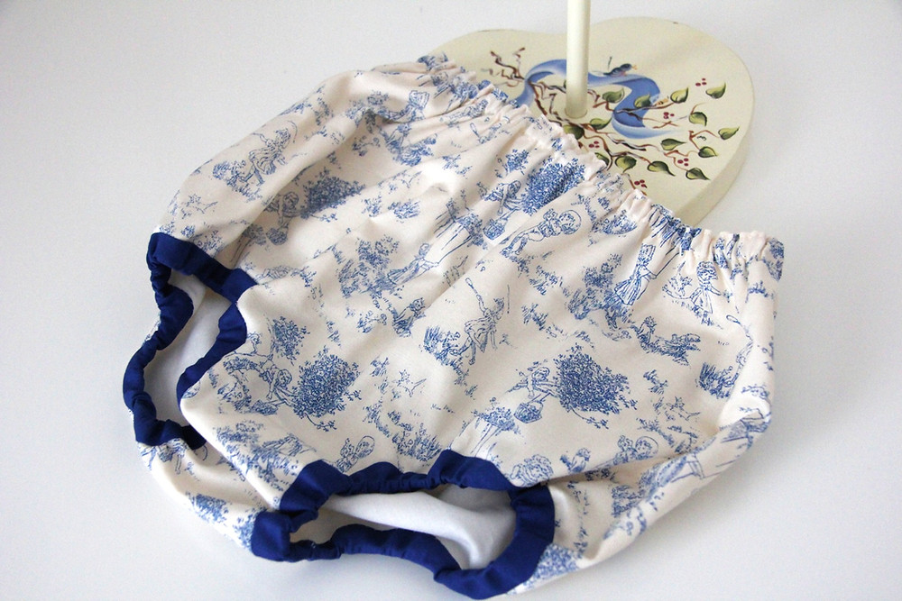 Panties for baby sewing from toile fabric and Infant Snowdrift pattern