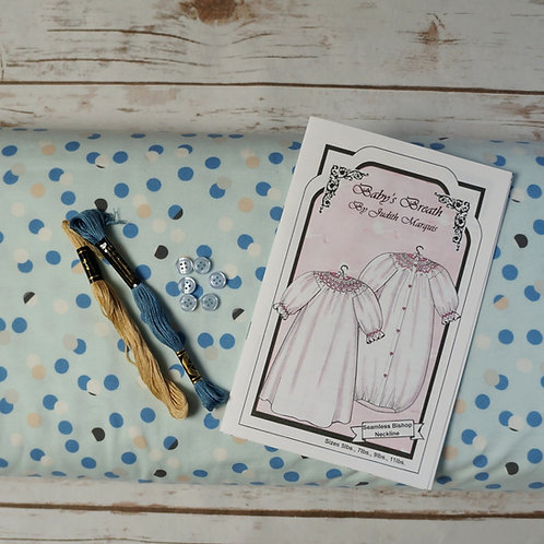 Blue Dottie Baby's Breath Pre-Pleated Smocked Bunting Kit