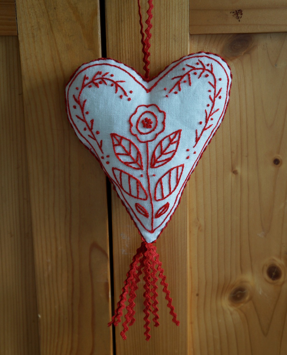 Swedish Redwork Heart
