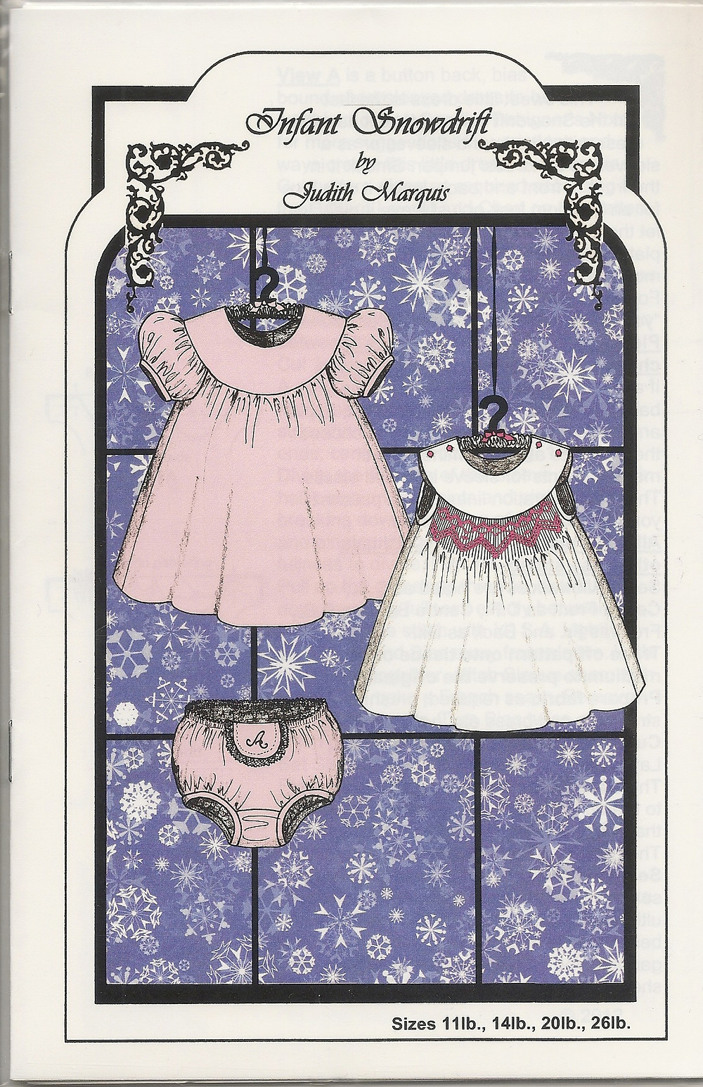 Infant Snowdrift sewing pattern for baby dress and panties| Pink Hollybush Designs