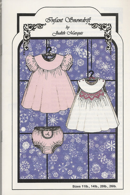 Infant Snowdrift Smocked Baby's Dress Sewing Pattern