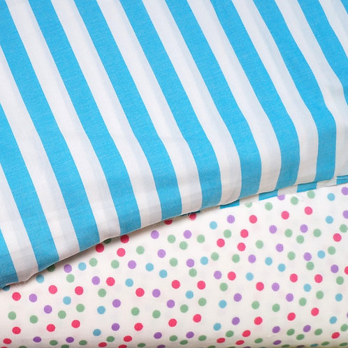 Turquoise Stripe Cotton Broadcloth