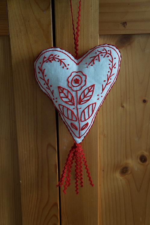 Swedish Heart Redwork Digital Embroidery Pattern