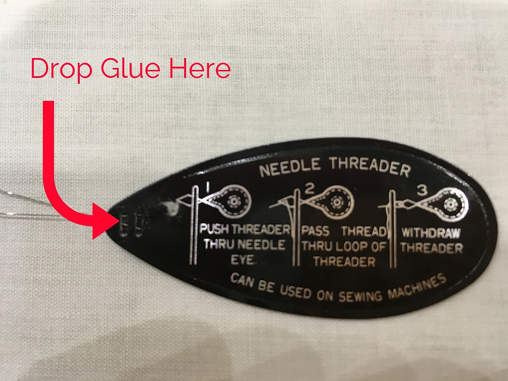 Where to drop glue on needle threader