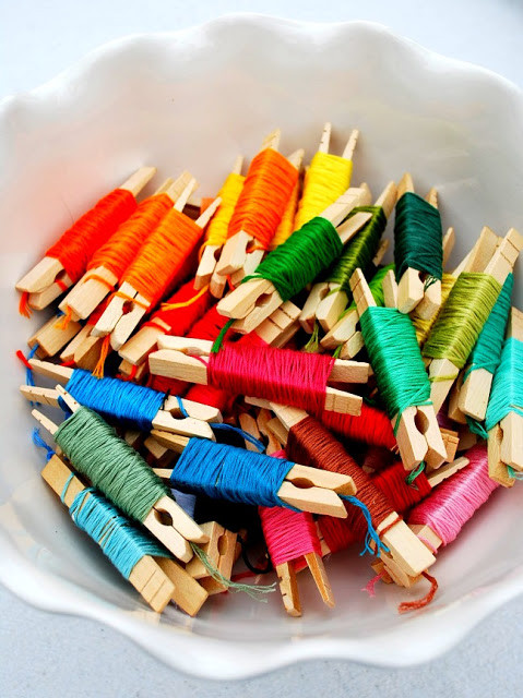 Using clothespins to organize floss