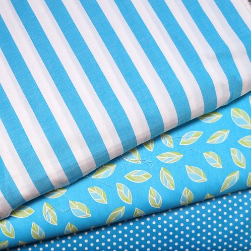 Turquoise Leaves Cotton Broadcloth