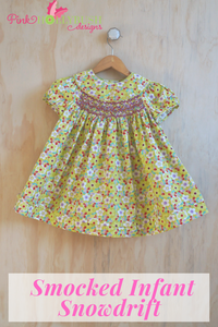 Smocked Infant Snowdrift dress sewn in Chartreuse Floral Broadcloth