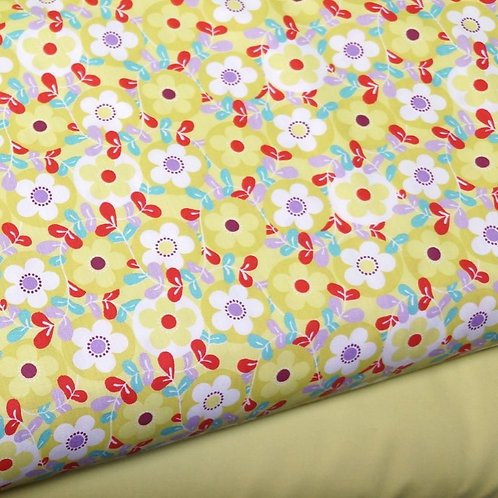 Chartreuse Floral Cotton Broadcloth
