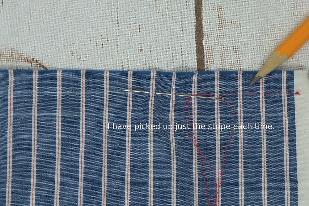 Hand pleating a striped fabric
