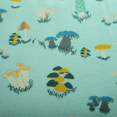 Aqua Mushrooms Knit Fabric by Art Gallery