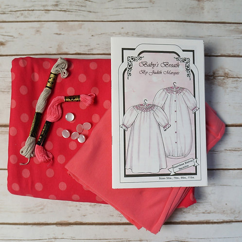 Coral Dot Baby's Breath Pre-Pleated Smocked Bunting Kit