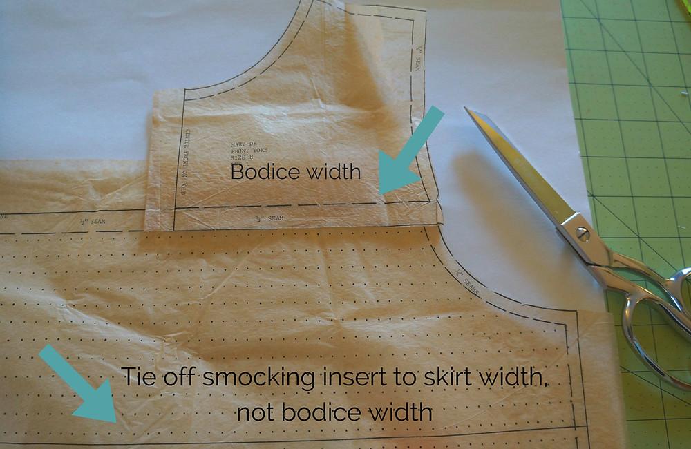 Tie off width of insert