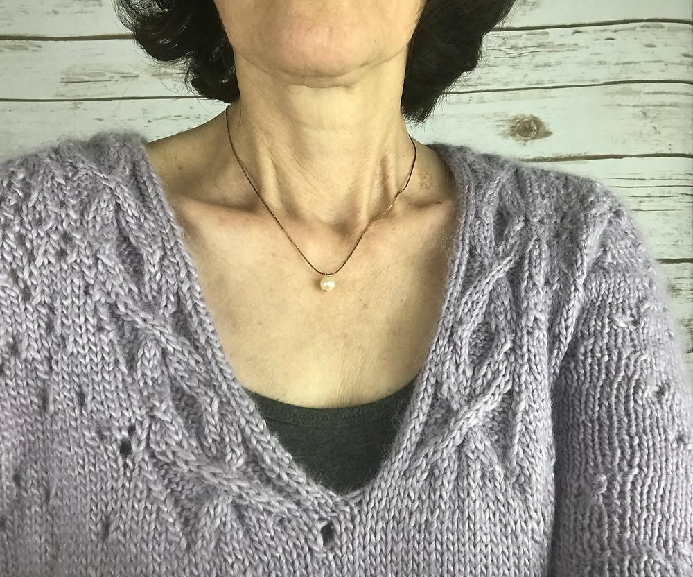 Close up of neckline