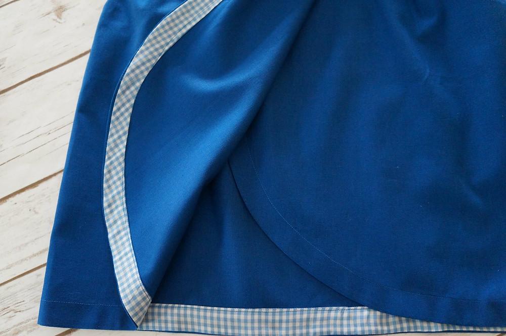 blue hem facing.