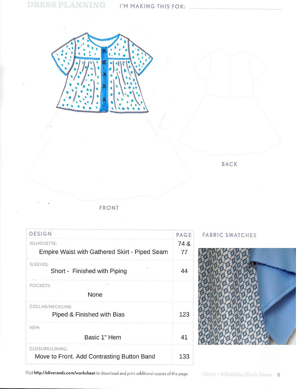Planning sheet from Building Block dress book