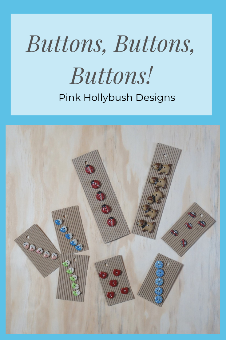 Handmade buttons available at Pink Hollybush
