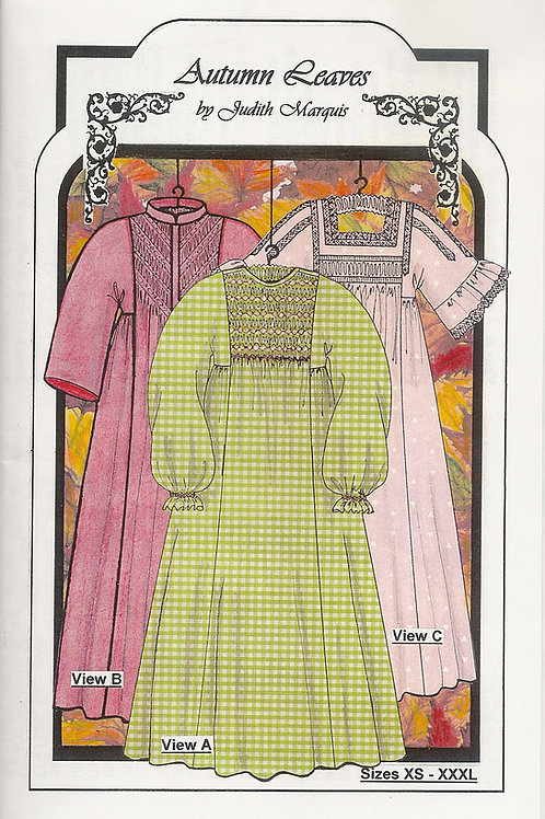 Autumn Leaves Lady's Smocked Nightgown or Robe Sewing Pattern