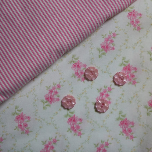 Pink Trellis July Flowers Gathered Skirt Kit