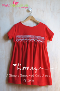 Honey, a simple smocked knit dress pattern from Pink Hollybush Designs