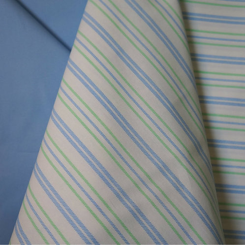 Blue and Green Stripe Cotton Broadcloth
