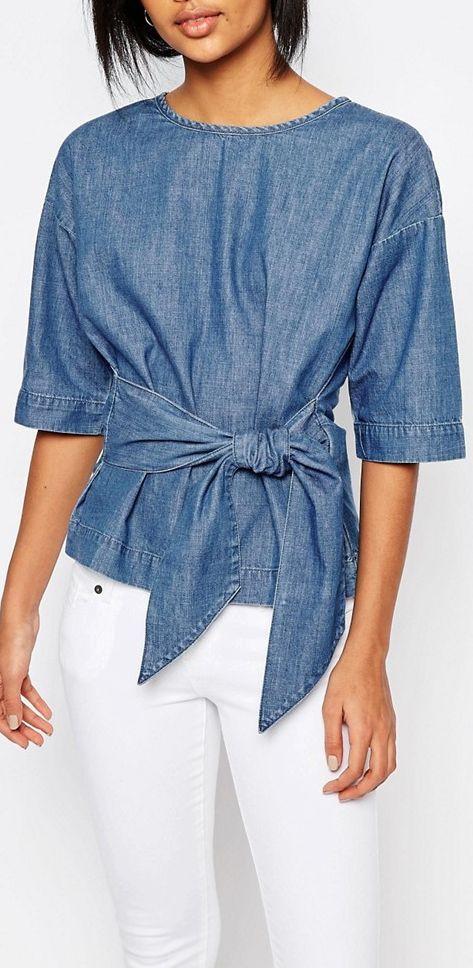 Bow denim blouse