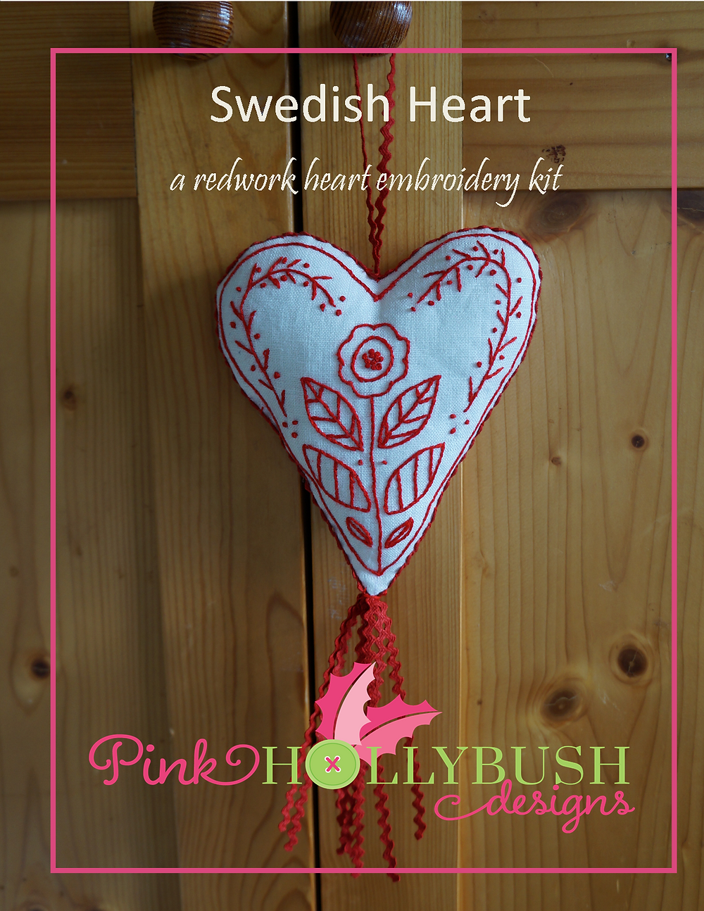 Swedish Redwork Heart Embroidery Kit