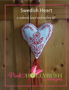 Swedish Heart : a redwork heart embroidery kit from Pinkhollybush