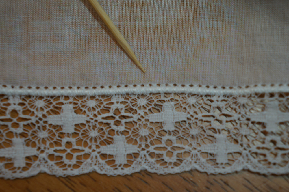 Lace attached with a pinstitch
