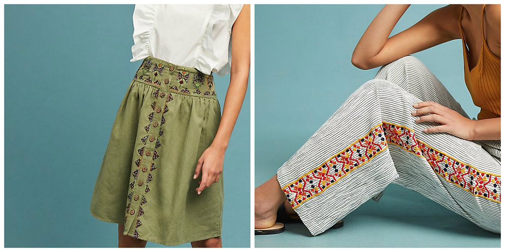 Embroidered skirt and pants from Anthropologie