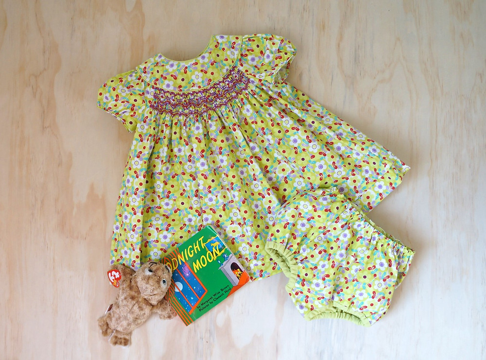 Infant Snowdrift pattern made in Chartreuse Floral Broadcloth
