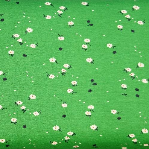 Green Daisy Organic Knit Fabric