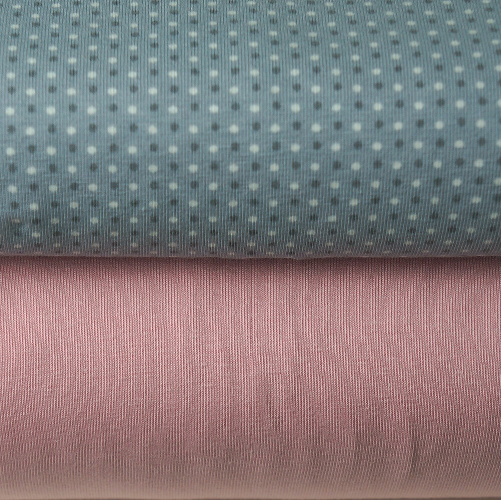 Gray Dot and Pink Knit Fabrics
