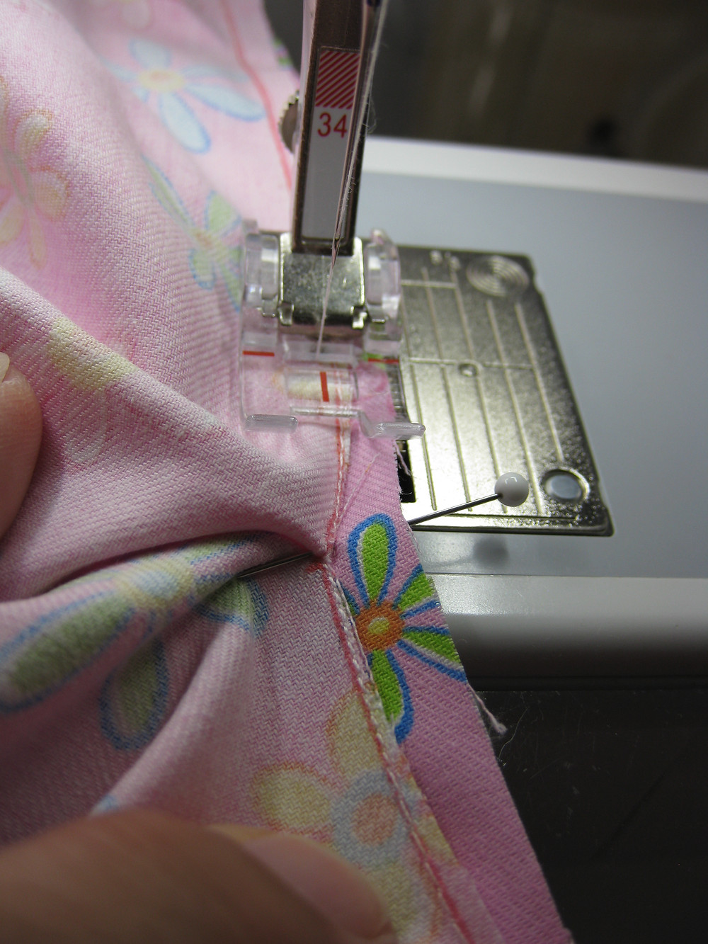 Stitching the back placket
