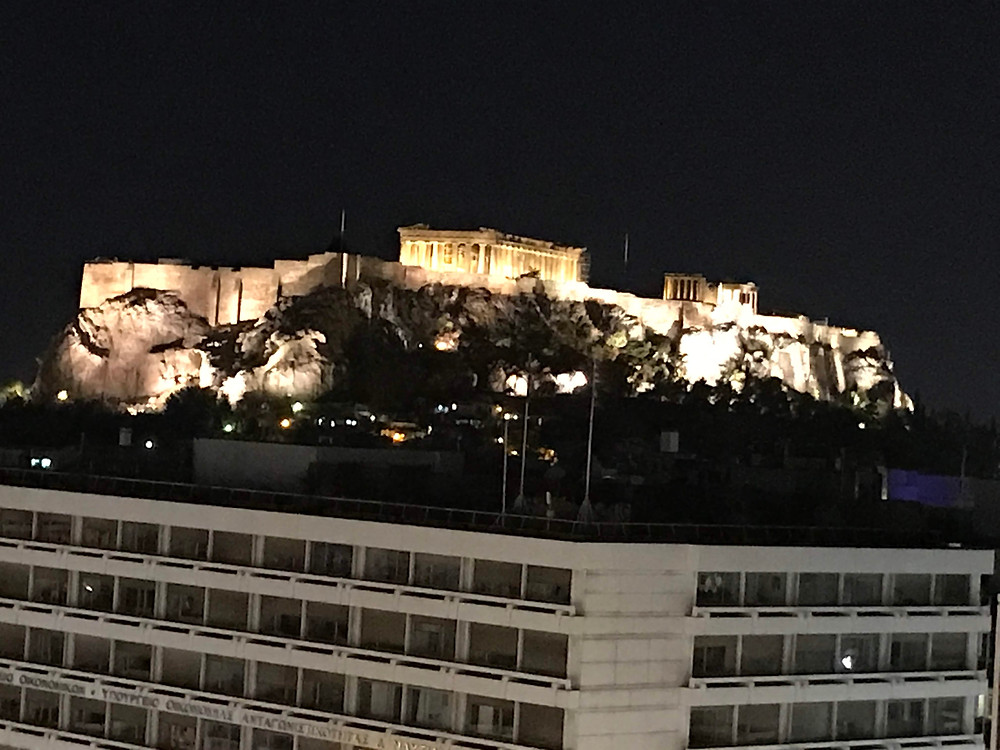 View of the Parthenon as we ate dinner at the Tudor Hall