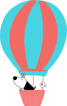 Dog & Bird in a Hot Air Balloon wo text.