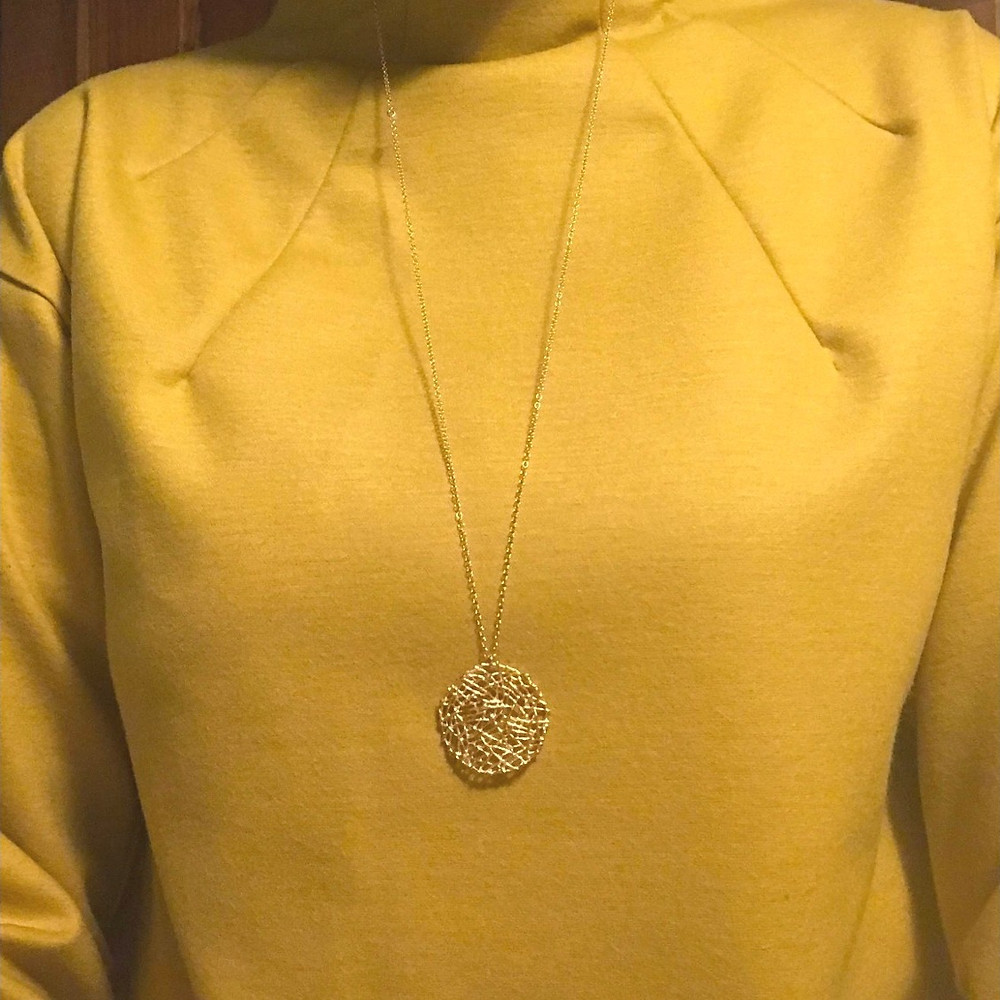 Close-up of neckline of the Talvikki sweater