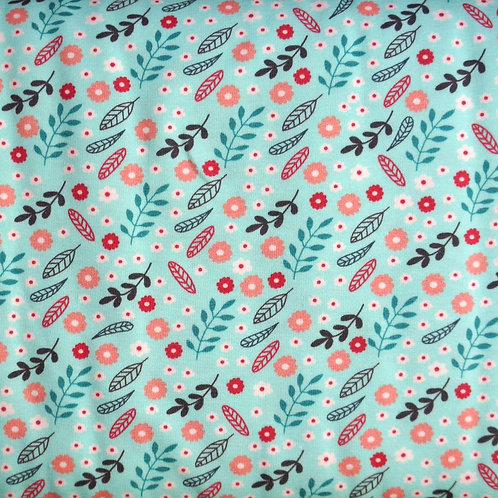 Coral Leaves Knit Fabric