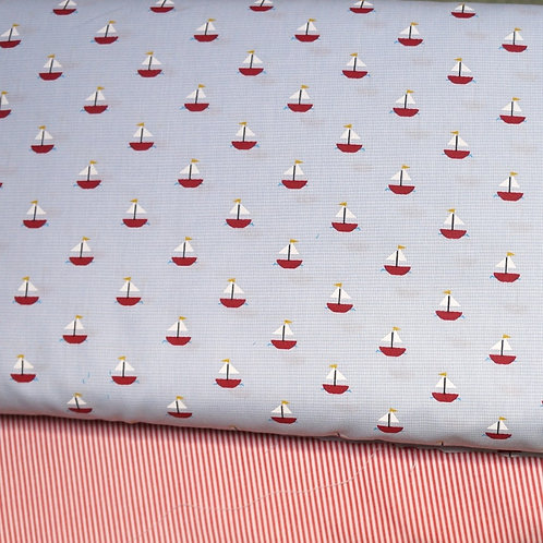 Red Sailboats on Blue Microcheck Fabric