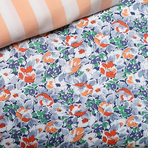 Purple and Melon Floral Broadcloth