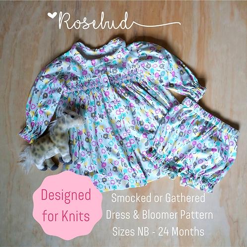 Rosebud Printed Infant Knit Dress & Bloomer Pattern