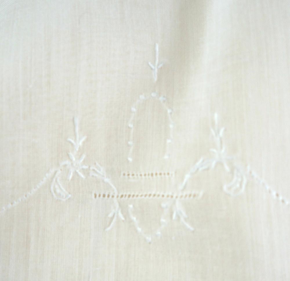 Ladder stitch on antique baby gown