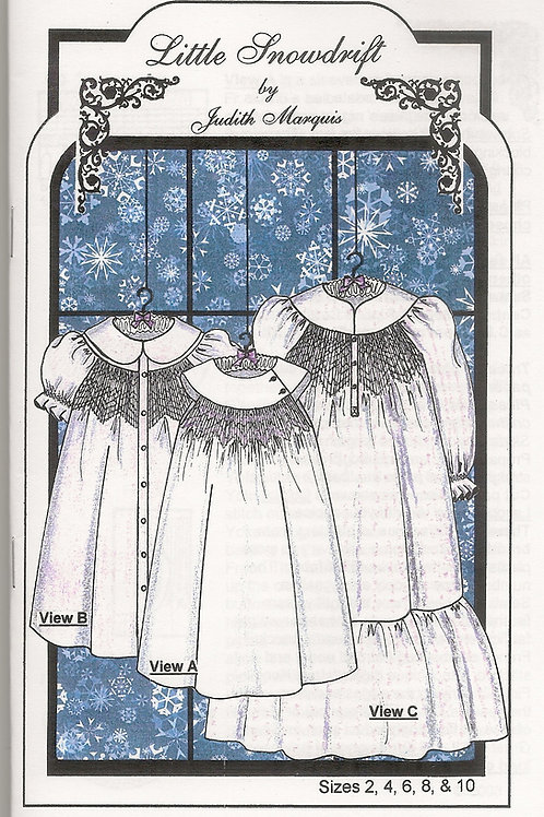 Little Snowdrift Smocked Girl's Dress Sewing Pattern