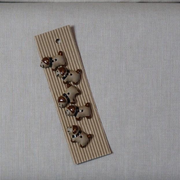 Bradford Herringbone Fabric and Dog Buttons