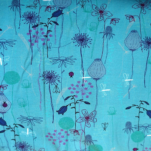 Turquoise Garden Knit Fabric